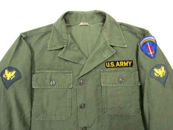Vintage 1960s US Army Cotton OG107 Shirt sz S to M