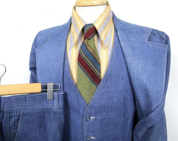 Vintage 1970s 3pc Denim Suit 42 R ~ 100% Cotton ~