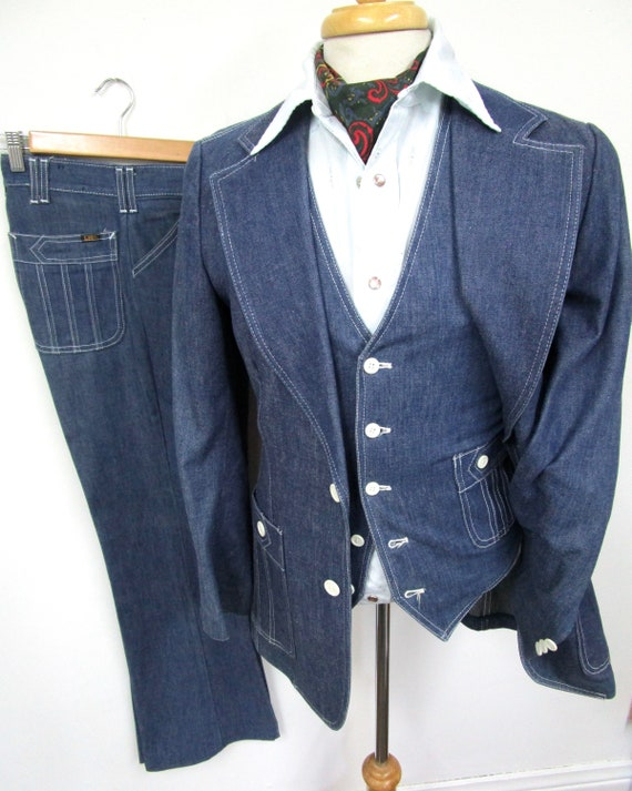 Vintage LEE 3pc Denim Suit 36 R ~ 1970s Wedding BE