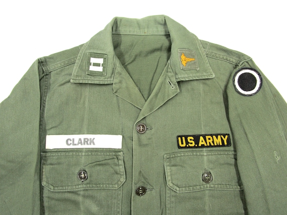 Vintage 1960s US Army Cotton OG107 Shirt S ~ PATCH