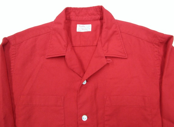 Vintage 1950s Red Wool & Cotton LOOP COLLAR Shirt