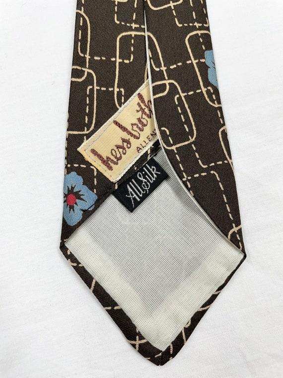 Vintage 1940s 50s Silk Tiki Flower Tie - image 3