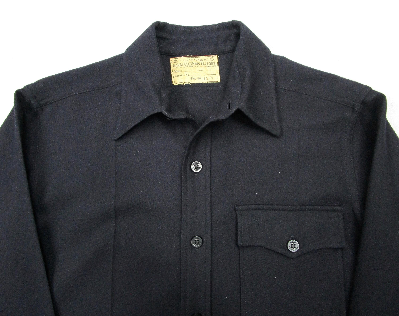 1940s Men's Shirts, Sweaters, Vests Vintage Ww2 Navy Cpo Shirt 1 Pocket Sz M  1940S Usn Minty $25.00 AT vintagedancer.com