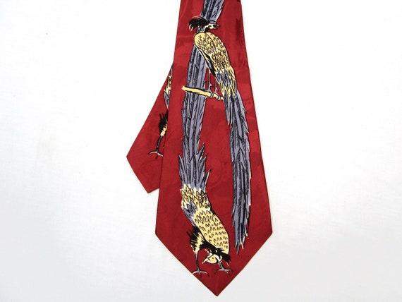 """Vintage 1930s """"Love Birds"""" Silk Tie ~ 1940s Deco"""