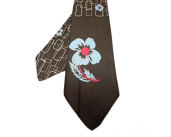 Vintage 1940s 50s Silk Tiki Flower Tie - image 1
