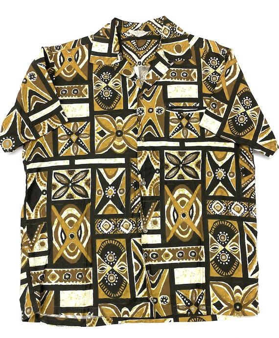 Vintage Hawaiian Tiki Shirt M ~ LOOP COLLAR 50s 6… - image 2