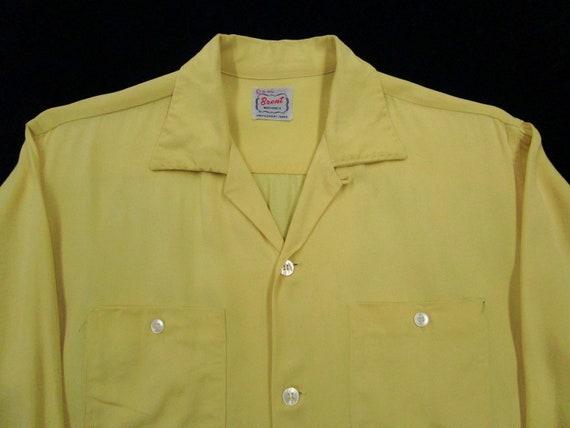 Vintage 1950s Rayon Gabardine Loop Collar shirt L
