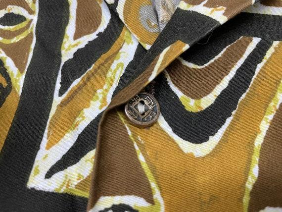 Vintage Hawaiian Tiki Shirt M ~ LOOP COLLAR 50s 6… - image 4