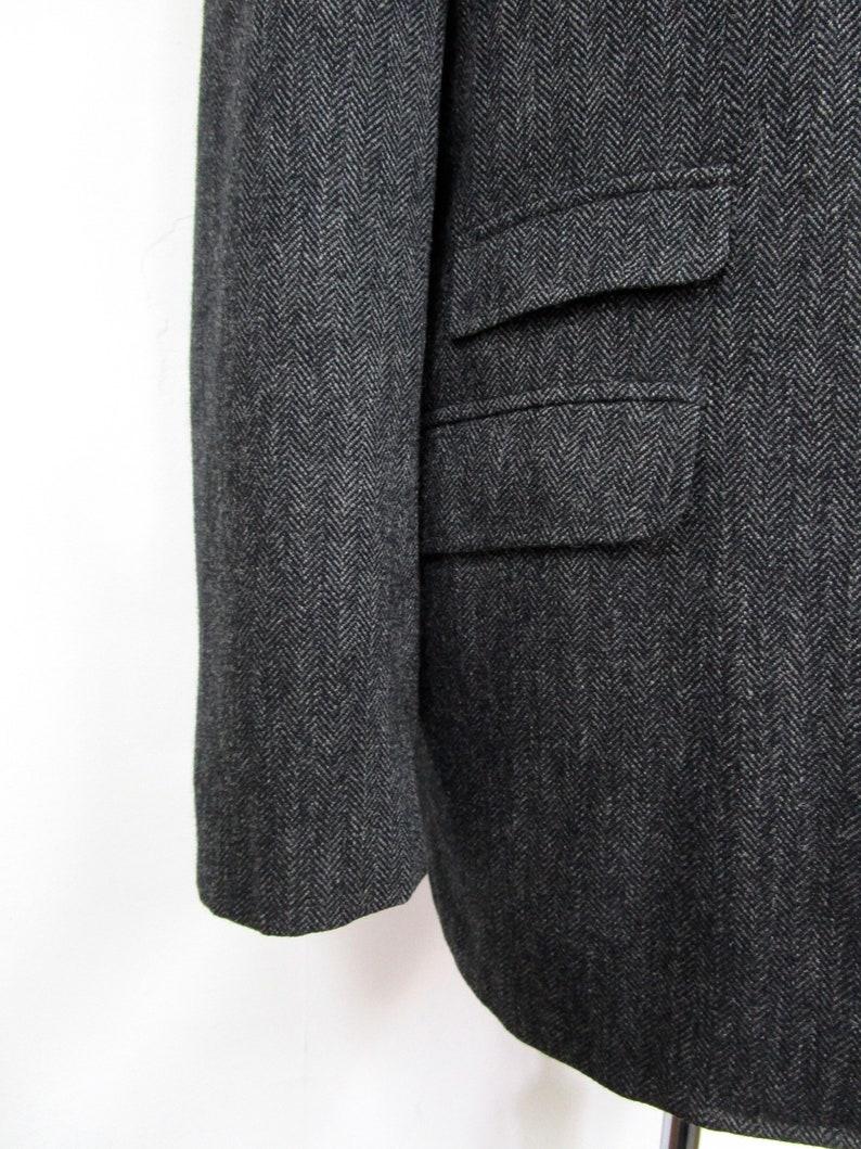 Vintage 1960s Herringbone Tweed CHINSTRAP Blazer 42 R ~ jacket sport coat