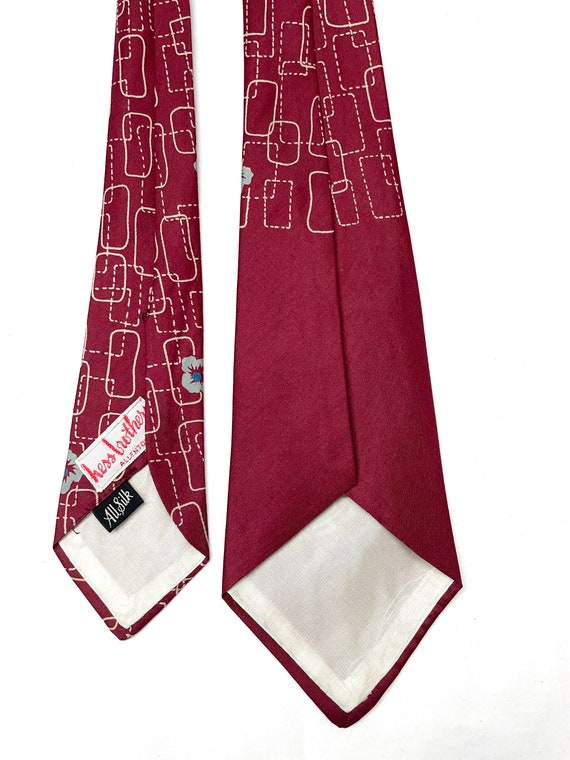 Vintage 1940s 50s Silk Tiki Flower Tie MINTY - image 4
