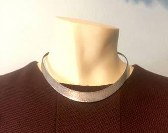 639bed430fd Sterling Silver Hand Hammered Choker Necklace 925 Modernist