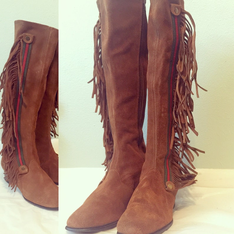 62904b047c1 Vintage Brown Suede Knee High Fringe Boots Gucci Look