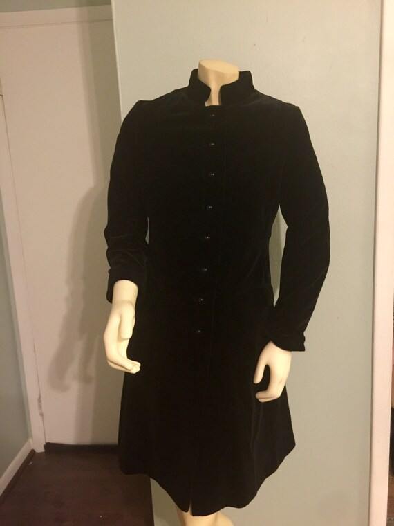 Vintage Black Velvet Coat Jacket Mandarin Collar