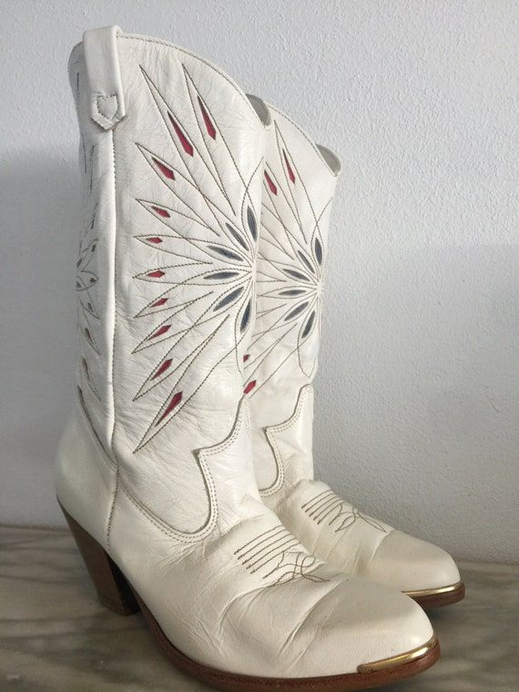 White Dingo Women's Cowboy Boots Red Blue Starbur… - image 3