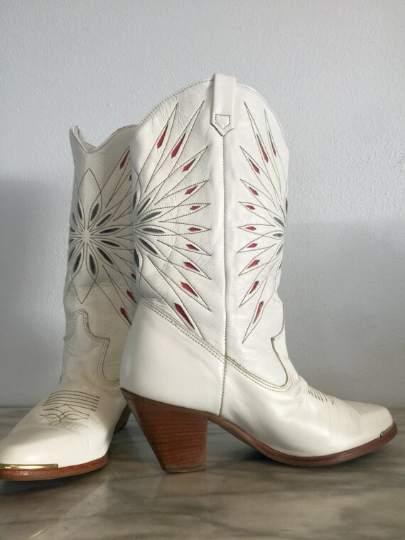 White Dingo Women's Cowboy Boots Red Blue Starbur… - image 4
