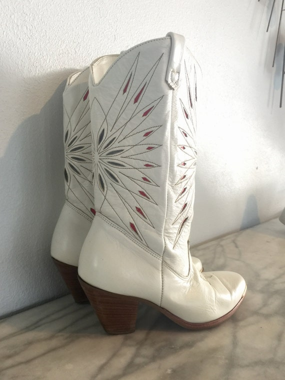 White Dingo Women's Cowboy Boots Red Blue Starbur… - image 1