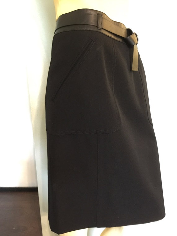 Prada Black Wool Pencil Skirt Leather Trim Leather