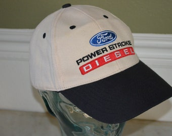 49c3a39b3aa Vintage FORD Power Stroke Diesel Adjustable Baseball Cap Hat (One Size Fits  All)