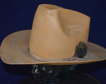 b093e2abab025 Vintage Resistol Straw Cowboy Hat w  Vinylcote 22
