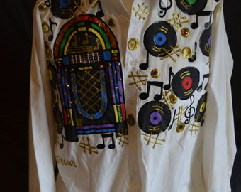 Vintage Hand Painted Juke Box and vinyl Record Long Sleeved Shirt (Size: L)