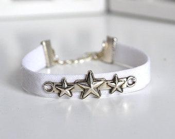 White stars Ribbon Bracelet