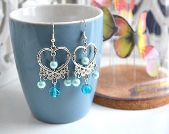 Silver Heart Earrings blue
