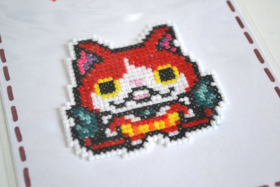 Pixel Art Jibanyan Embroidery Patch