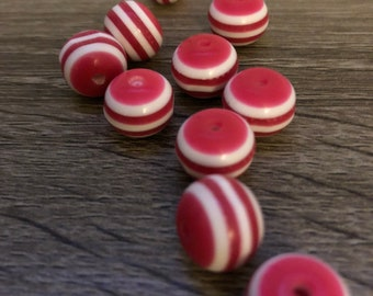 Pink (fuscia) and White Striped Resin Beads 10 ct.