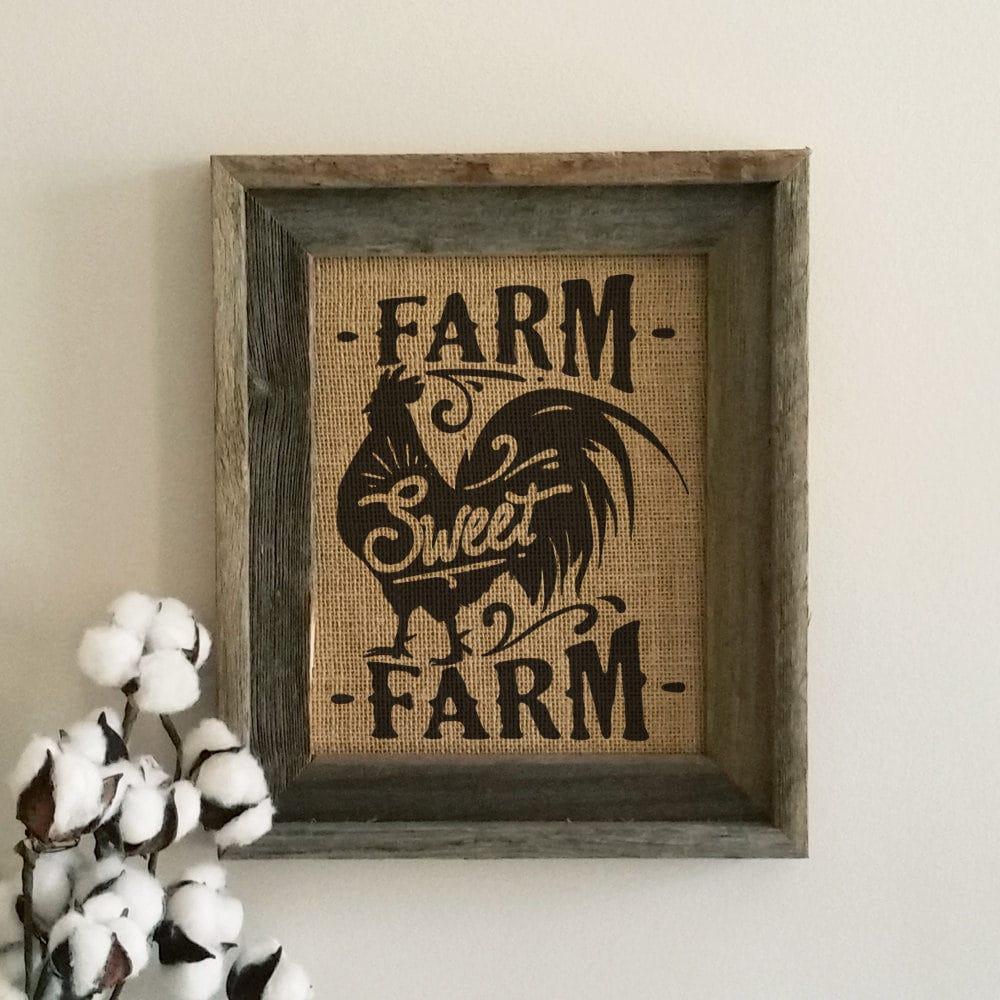Burlap Home Decor: Farm Sweet Farm Burlap Print Home Decor Wall Art Farmhouse