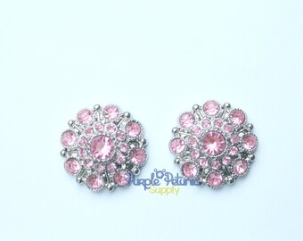 5 pc pink rhinestone buttons, light pink rhinestone button, 28mm rhinestone button