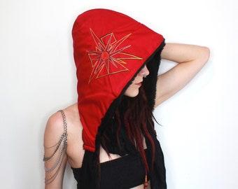 Red Festival Hood Fur Lined Hoodies Red Spirit Hood Psy Scoodie Burning Man Hoods Furry Hoods