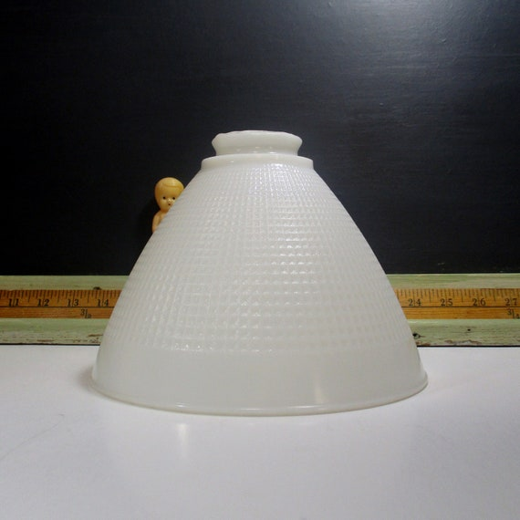VINTAGE TORCHIERE MILK GLASS WAFFLE PATTERN FLOOR LAMP SHADE 8 INCHES WIDE