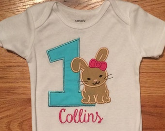 First Birthday Bunny Personalized Onesie