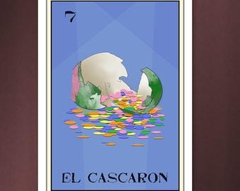 El Cascaron 5x7 Loteria Art Print - confetti eggs, easter, loteria cards,loteria designs, loteria moderna, framable art,5x7 prints.