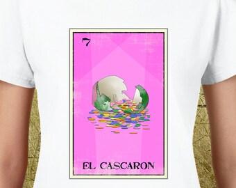 El Cascaron Loteria Ladies Tee,loteria cards,la loteria,loteria shirts,cascarones,confetti eggs,high quality tees,east los,east la,easter