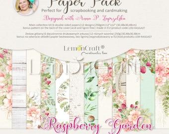 Lemoncraft Raspberry Garden 12x12 Scrapbook Paper Stack