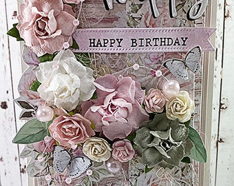 Tall Shabby Chic Happy, Happy Birthday Greeting Card