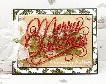 Sparkly Merry Christmas Greeting Card
