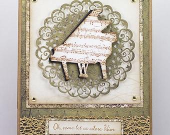 O Come Let Us Adore Him Piano Christmas Greeting Card