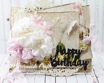 Shabby Chic Happy Birthday Tag Card