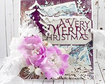Shabby Chic Very Merry Christmas Greeting Card