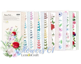 Lemoncraft Flowers 1 12x6 Elements For Fussy Cutting Scrapbook Paper Stack
