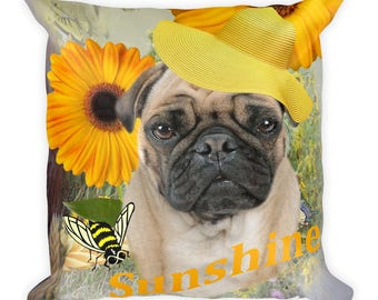 Pug Sunshine And Daisies Square Pillow