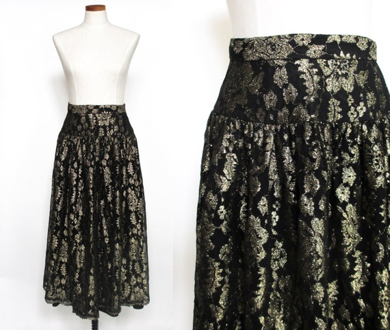 Vintage metallic lace metallic black gold midi ski