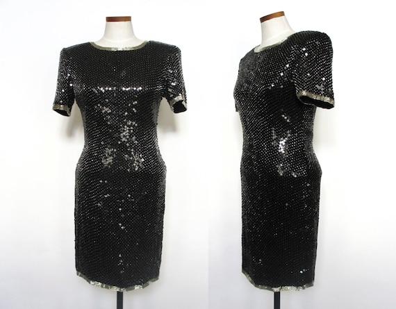 Vintage DEADSTOCK black sequin metallic dress