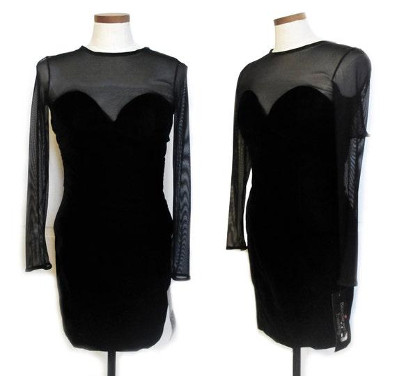 Vintage DEADSTOCK black velvet sheer sweetheart mi