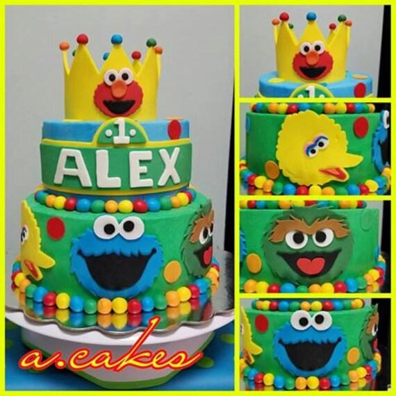 Sesame Street Fondant Birthday Sesame Street Cake Toppers Elmo Cookie Monster Big Bird Grover Oscar Abby Cadabby Bert Ernie Count Von Count