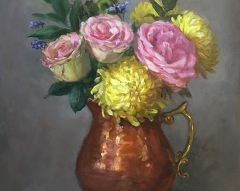 Flowers in the copper pitcher. Original Floral oil painting. Kitchen decor. Home decor. Traditional realism