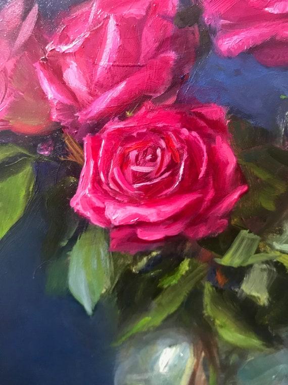 Rose Oil Painting Fine Art Roses Oil Painting Salmon Rose Original Oil Painting Peach Rose Rose Art