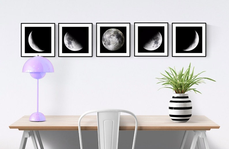 Phases of the Moon 5 Piece Set Moon Phases Wall Art image 0